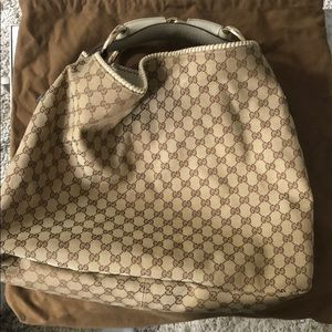 GUCCI MONOGRAM HORSEBIT HOBO Handbag LARGE TAN